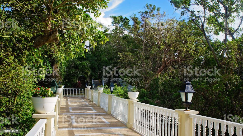 Isla Levantado, view from a terrace stock photo