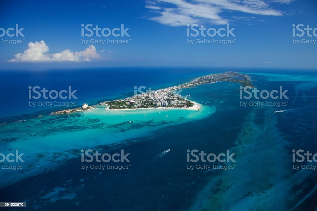 Isla Mujeres from above stock photo