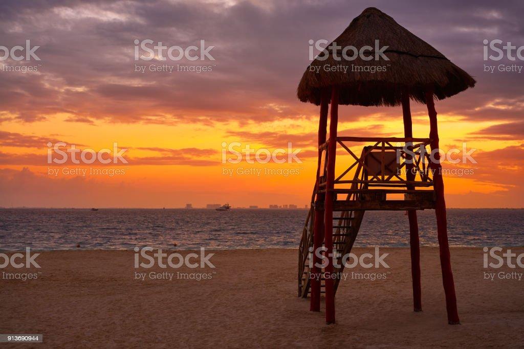 Isla Mujeres island Caribbean beach sunset stock photo