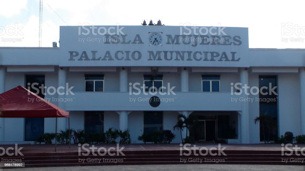 Isla Mujeres Palacio Municipal Building Exterior View In Quintana Roo Mexico stock photo