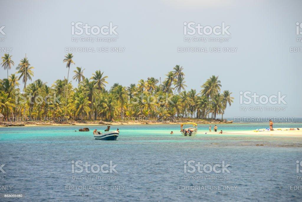 Isla Perro boats stock photo