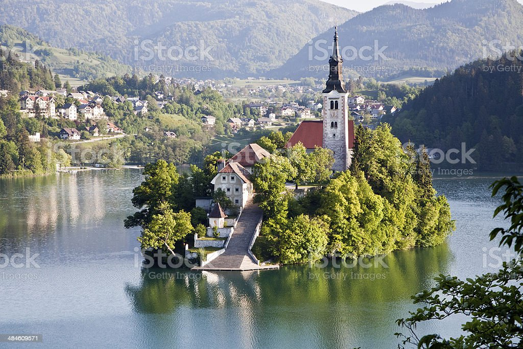 islad on lake Bled stock photo