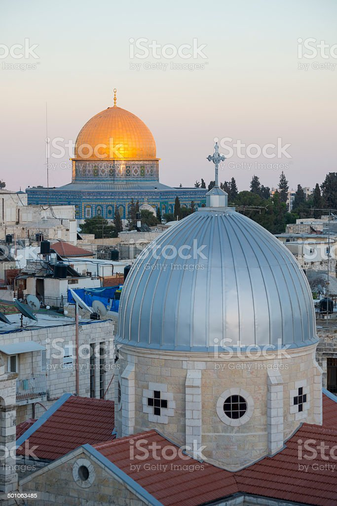 Islam and Christianity in Jerusalem stock photo
