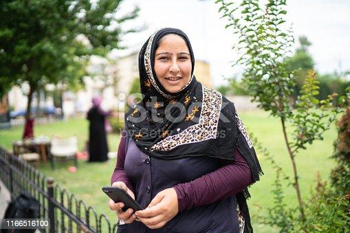 Islam Syrian Woman Using Mobile Portrait