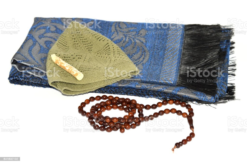 Islami takke, prayer rug and rosary pictures stock photo