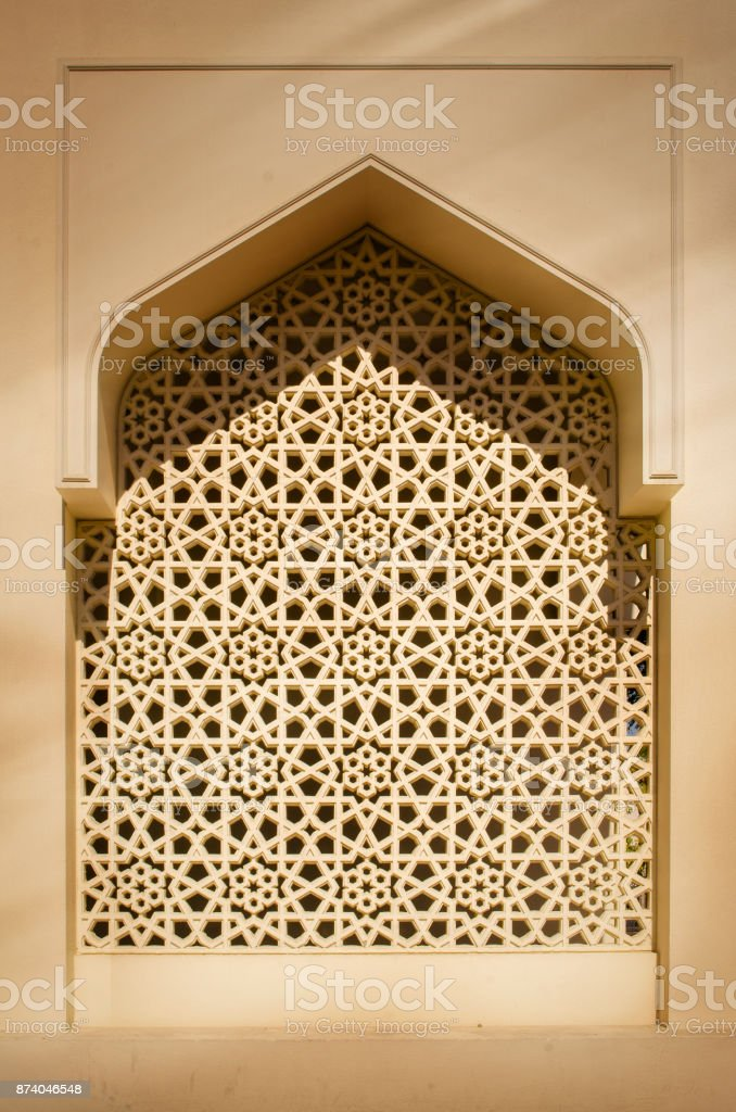 Detalhe da arquitetura tradicional arco islâmico - foto de acervo