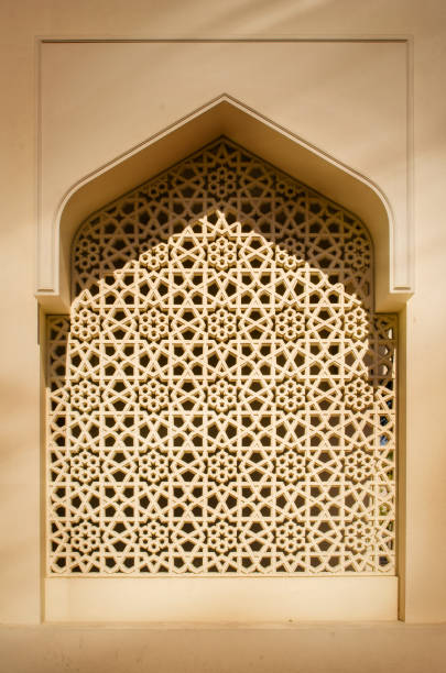 Islamic Arch Traditional Architecture Detail Islamic traditional architecture arabesque pattern arch window frame. arabic style stock pictures, royalty-free photos & images