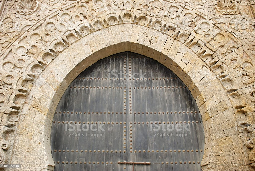 Islamic Arched Doorway in Morocco stock photo