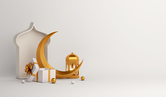 istock Islamic background, Gift box, lantern, gold crescent moon on white. Design concept of ramadan kareem, mawlid, iftar,isra and miraj or eid al fitr adha, copy space text area, 3D illustration. 1217941201