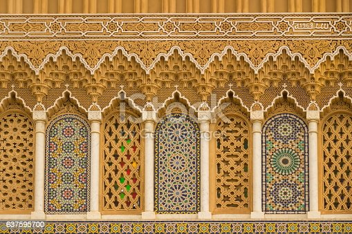 istock Islamic calligraphy and colorful geometric patterns a Morocco. 637595700