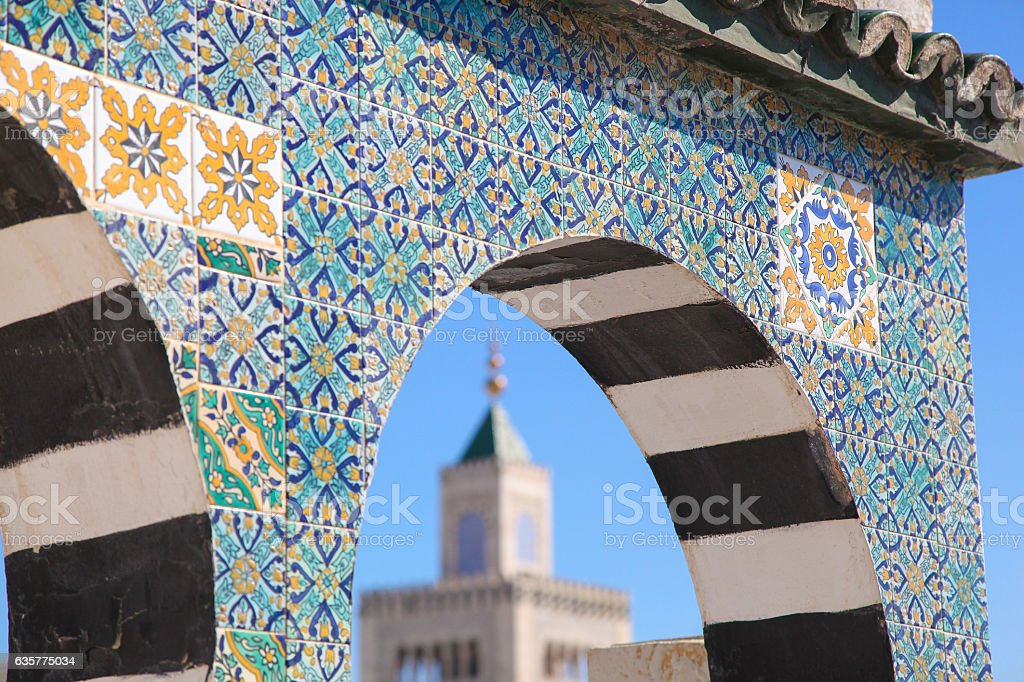 Islamic ceramic decoration pattern on the wall in Tunis, the stock photo