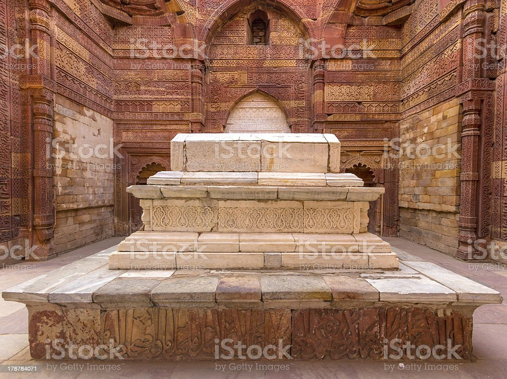 islamic grave with inscriptions at qutub minar in Delhi, India royalty-free stock photo