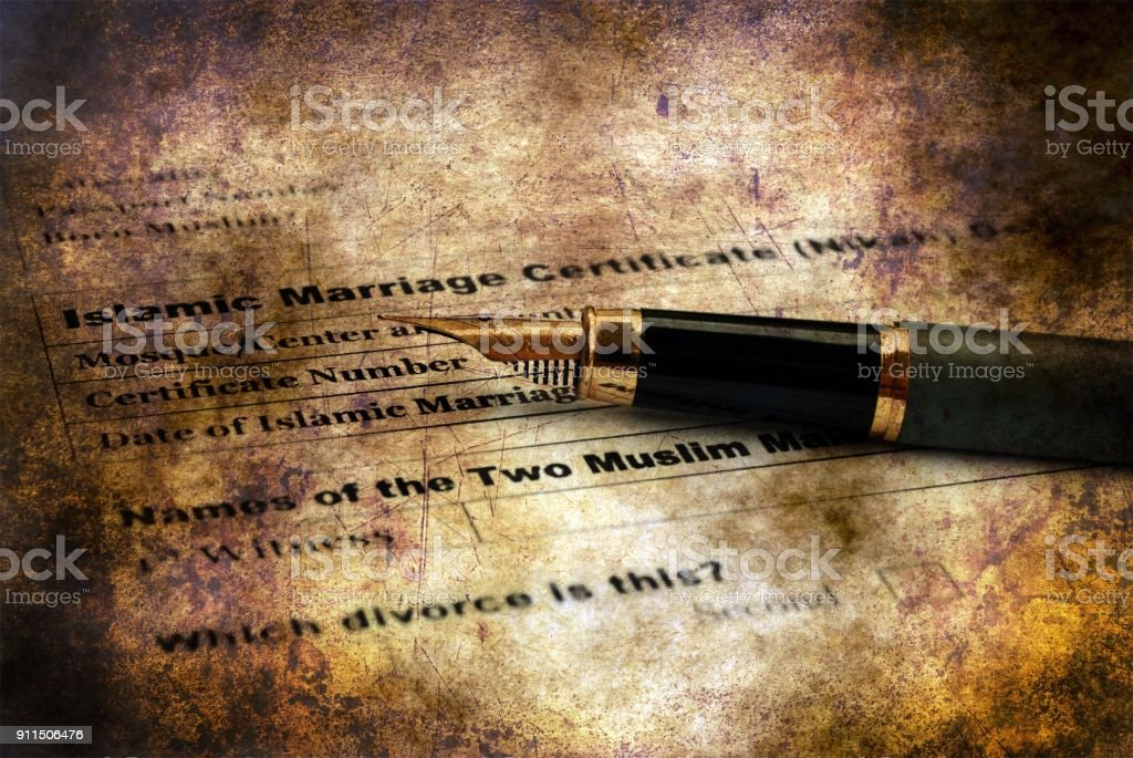 Islamic Marriage Certificate Grunge Concept Stock Photo & More