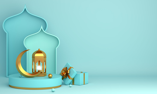 istock Islamic product display mock up on blue pastel background. Podium, crescent moon, lantern, gift box. Ramadan, eid fitr adha, mawlid concept, 3D rendering illustration. 1218559302