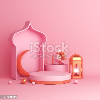 istock Islamic product display mock up on pink background. Podium, crescent moon, lantern, gift box. Ramadan, eid fitr adha, mawlid concept, 3D rendering illustration. 1217568030