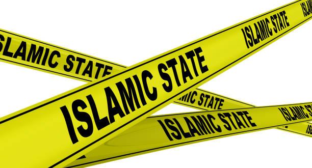 islamic state. yellow warning tapes - sharia foto e immagini stock
