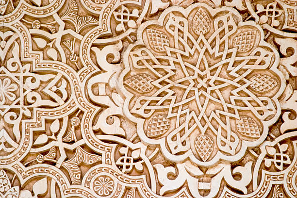 Islamic (Moorish) style, Alhambra, Granada Islamic (Moorish) style, Alhambra, Granada. Detail of wall plaster. Great background. arabic style stock pictures, royalty-free photos & images