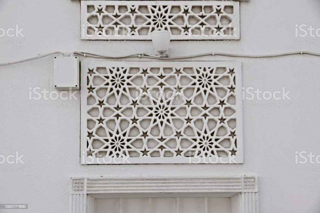 Islamic traditional pattern window frame stock photo
