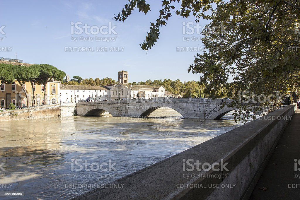 Island and a flooded Tiber, Rome, Italy stock photo