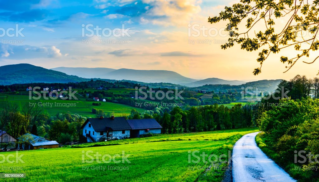 Island Beskids at sunset. royalty-free stock photo