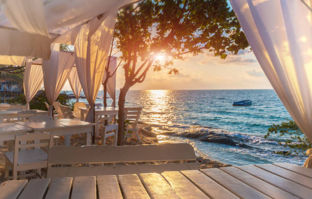 Island blue sea view. Island blue sea view with white decoration relax place with sunrise lighting. indochina stock pictures, royalty-free photos & images