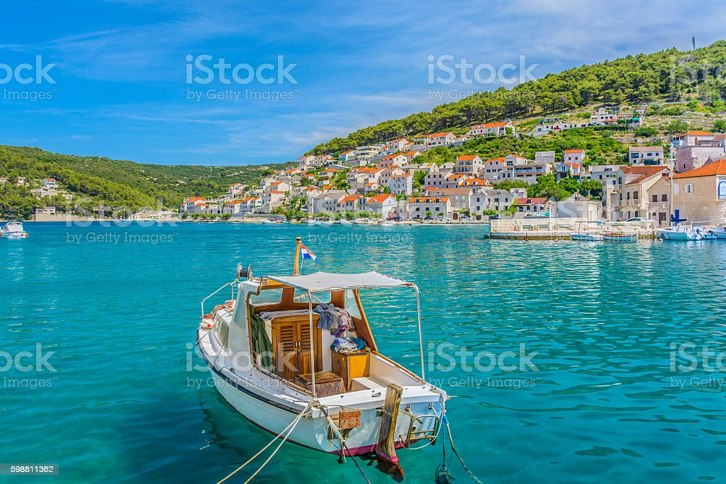 Island Brac Pucisca seascape. stock photo
