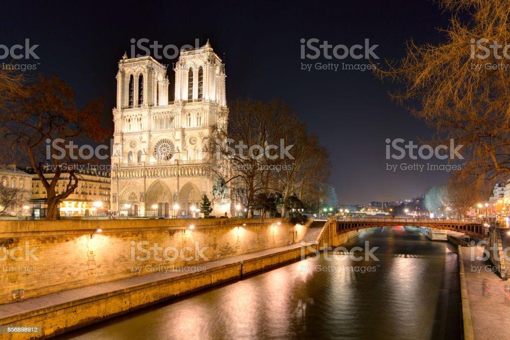 Island Cite with cathedral Notre Dame de Paris stock photo