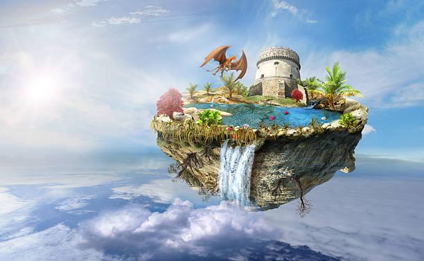 insel dragon flies im raum - märchenillustrationen stock-fotos und bilder