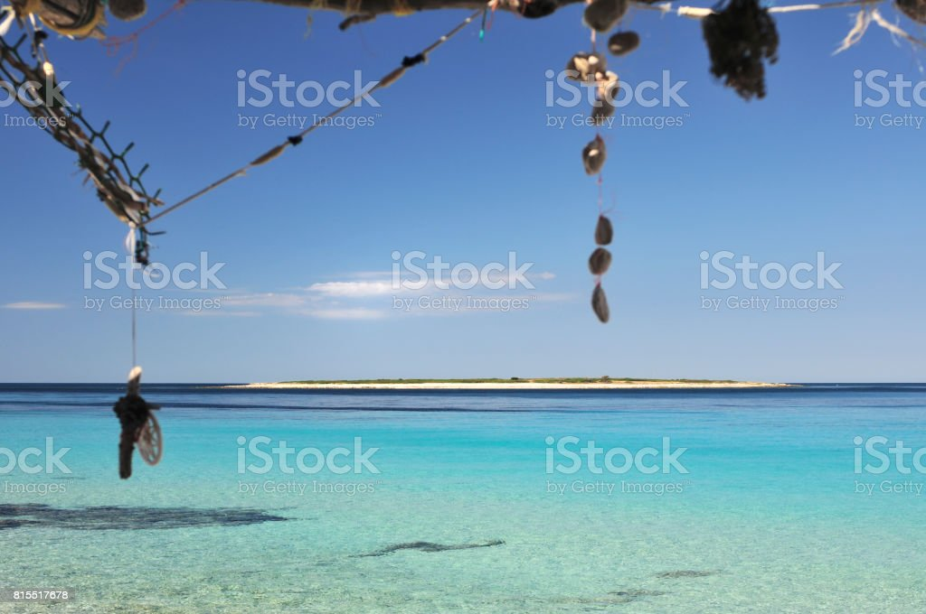 Island from decorated sun shelter stock photo