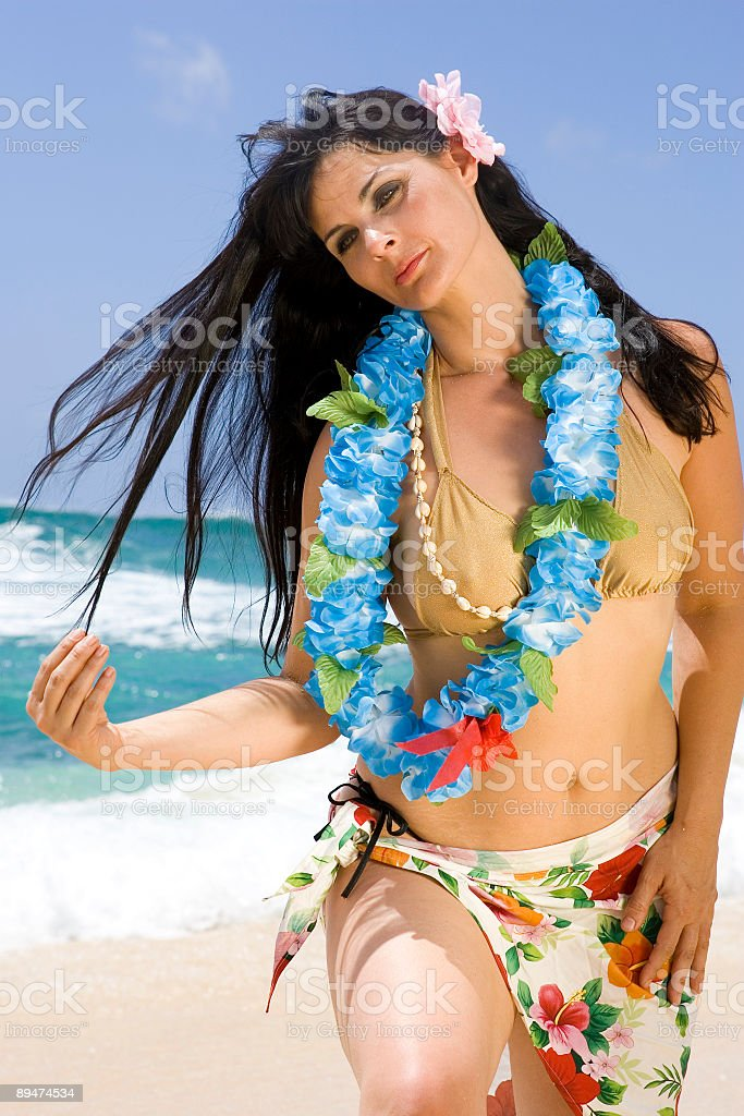 Island Girl with Flowing Hair royalty-free stock photo