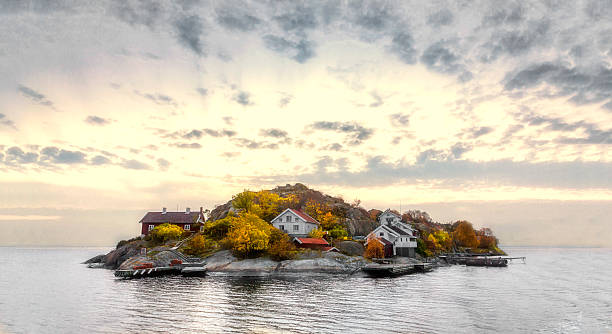 Island in autumn colors stock photo