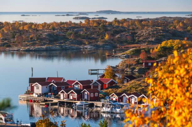 wyspa w jesień. horyzont wodny - szwecja zdjęcia i obrazy z banku zdjęć