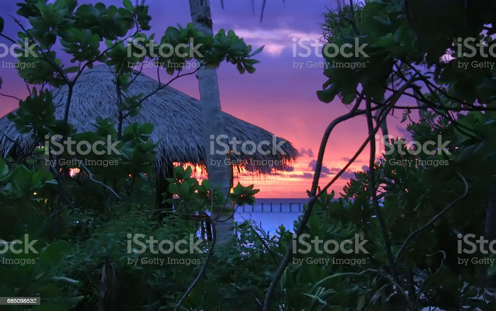 Island in ocean, Maldives. Night royalty-free stock photo