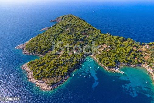 istock Island Kolocep at Elaphites near Dubrovnik 493851573