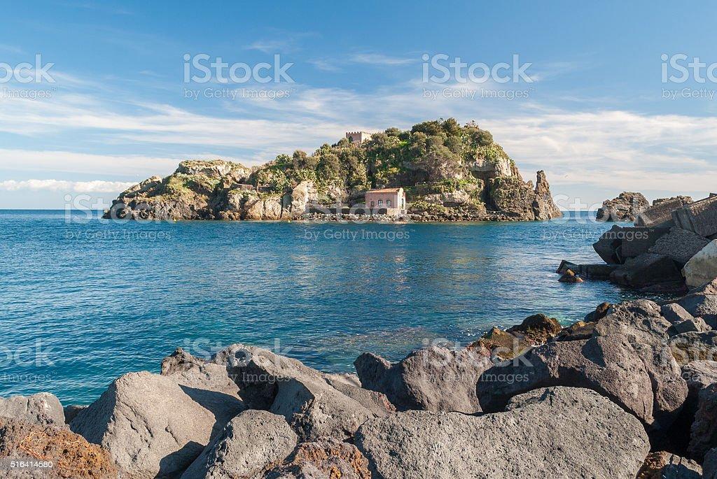 Isola di Acitrezza Lachea in, città Turistica della Sicilia - foto stock