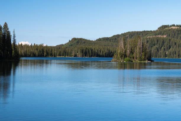 Island Lake located on the Grand Mesa, Colorado. stock photo