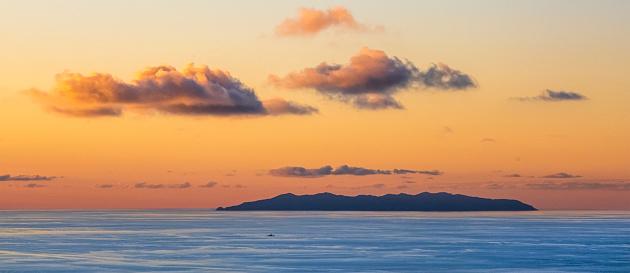 Island of Capraia at sunset seen from Monte Serra on the Island of Elba