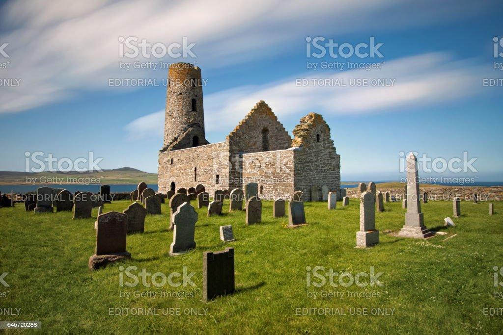 Island of Egilsay, Orkney Islands, Scotland – August 7, 2014: St Magnus Church stock photo