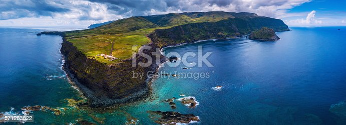 Lighthouse in the island of Flores in the Azores