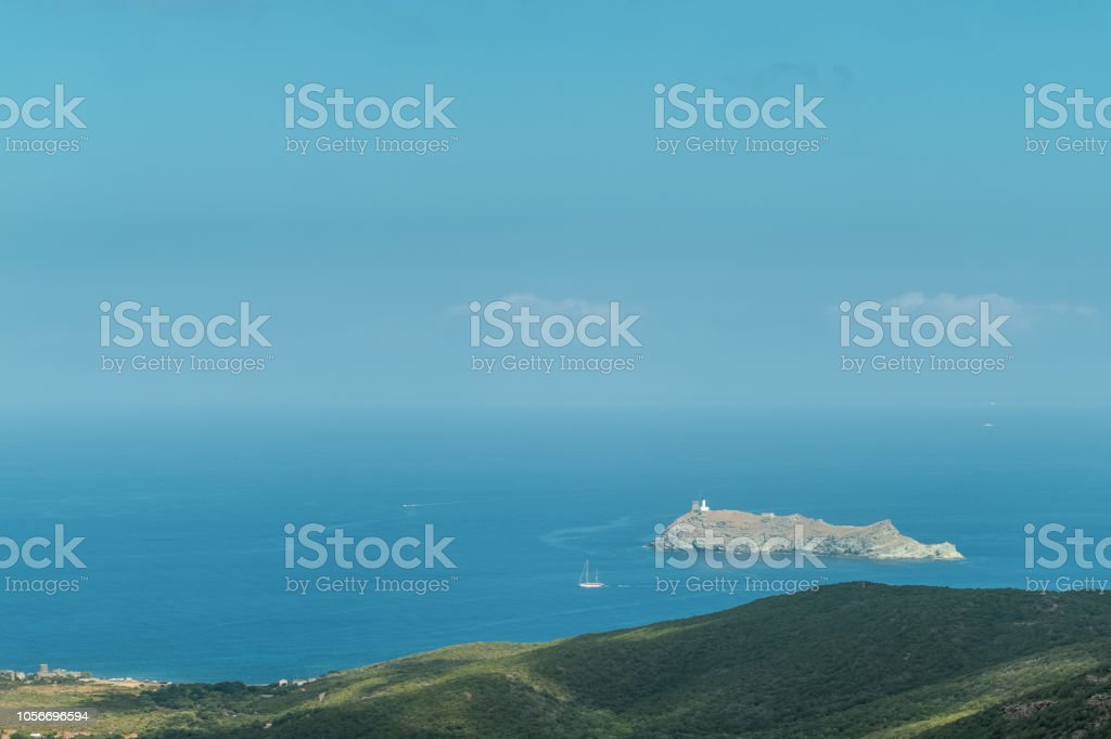 Island of Giraglia on northern tip of Corsica stock photo