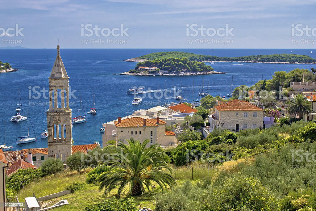 Island of Hvar nature and architecture stock photo
