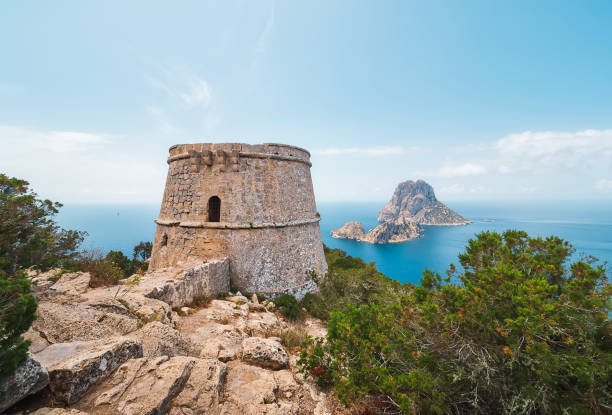 Island of Ibiza, Spain. Aerial view of Es Vedrá, from the old tower of des Savinar Island of Ibiza, Spain. Aerial view of Es Vedra, from the old tower of des Savinar,in the natural park of Cala D´hort ibiza island stock pictures, royalty-free photos & images