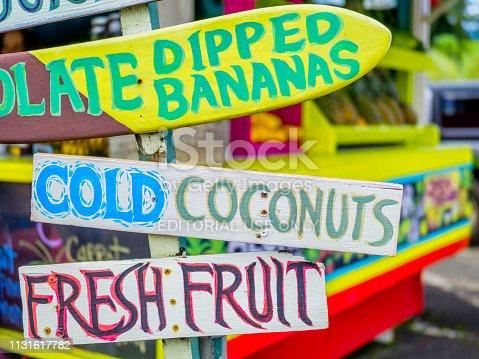 Island of Kauai in Hawaii on December 13, 2016: Produce market with a funky vibe in Hanalei, Kauai