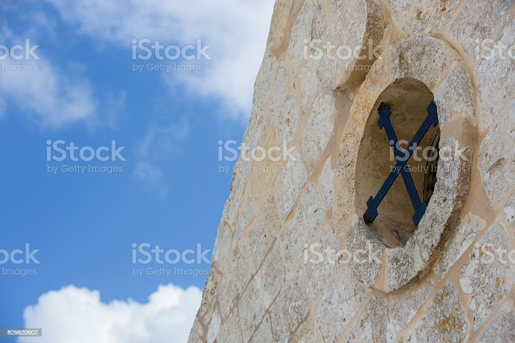 Island of Malta  overlooking beautiful blue sea with old church stock photo