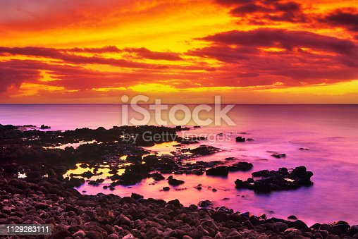 Sunset seen from Molokai Hawaii