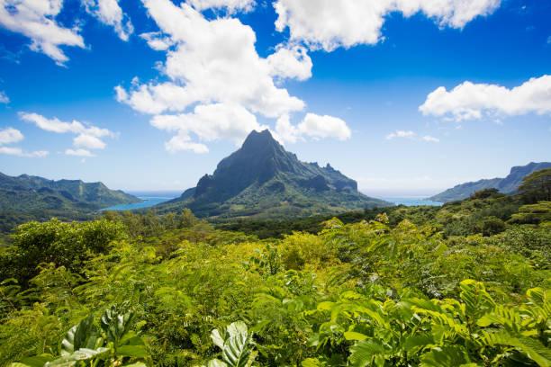Island of Moorea with Mount Rotui, French Polynesia stock photo