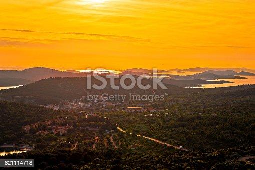 istock Island of Murter yellow sunset view 621114718