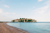 Island of Sveti Stefan, close-up of the island in the afternoon