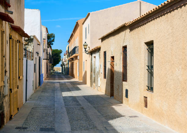 Island of Tabarca. Spain Charming narrow street in the Island of Tabarca. Province of Alicante. Spain southern charm stock pictures, royalty-free photos & images