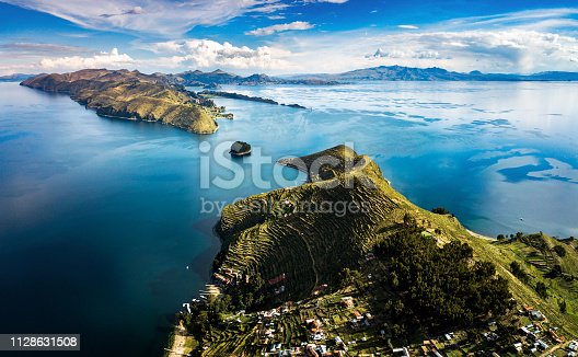 Island of the sun at lake Titicaca in Bolivia aerial panoramic view